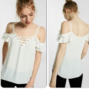 NWT Express Cold Shoulder White Lace-Up Shirt
